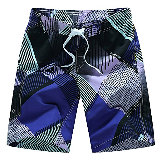 (Mens Quick Dry Swim Trunks Plaid Print Beach Shorts Summer Vacation Swimming Short Pants Zulmuliu(Purple,3XL))