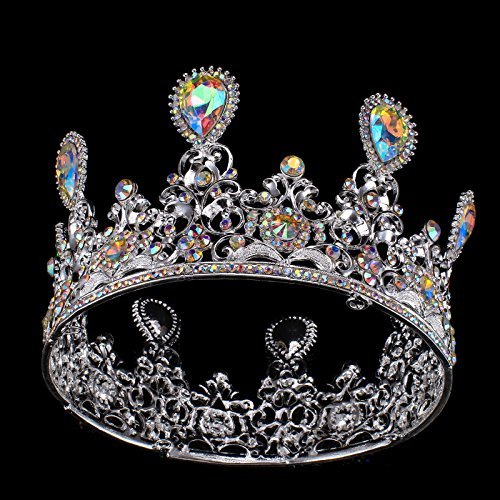 - FUMUD Height 3.5'' Baroque Luxury Clearly Crystal AB Bridal Crown Tiaras Silver Tiaras for Women Bride Wedding Hair Accessories (1#)