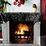 2X Halloween Decoration Black Lace Spiderweb Fireplace Mantle Scarf Cover Door Window Festive Party Supplies 45 X 243cm 18 ''x 96''