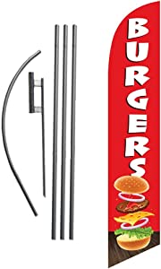 Burgers Restaurant Advertising Feather Banner Swooper Flag Sign with Flag Pole Kit and Ground Stake