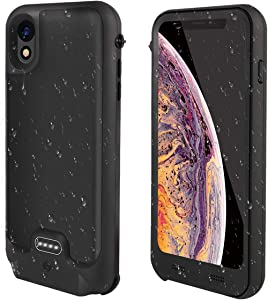 Metal Waterproof Battery Case Compatible with iPhone, IP67 Waterproof Charger Case with Full Body Protection High Capacity Charging Case, 130% Extra Battery Life (3600mAh for iPhone XR)