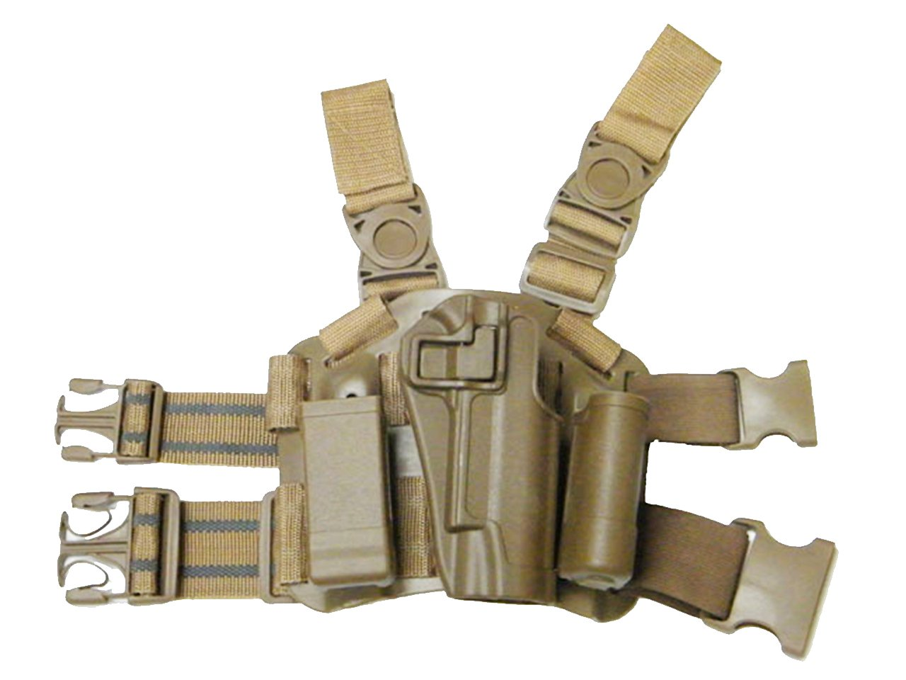 Tactical Dropleg Drop Leg Right Handed 1911 Holster Magazine Flashlight Pouch Airsoft Military Tan