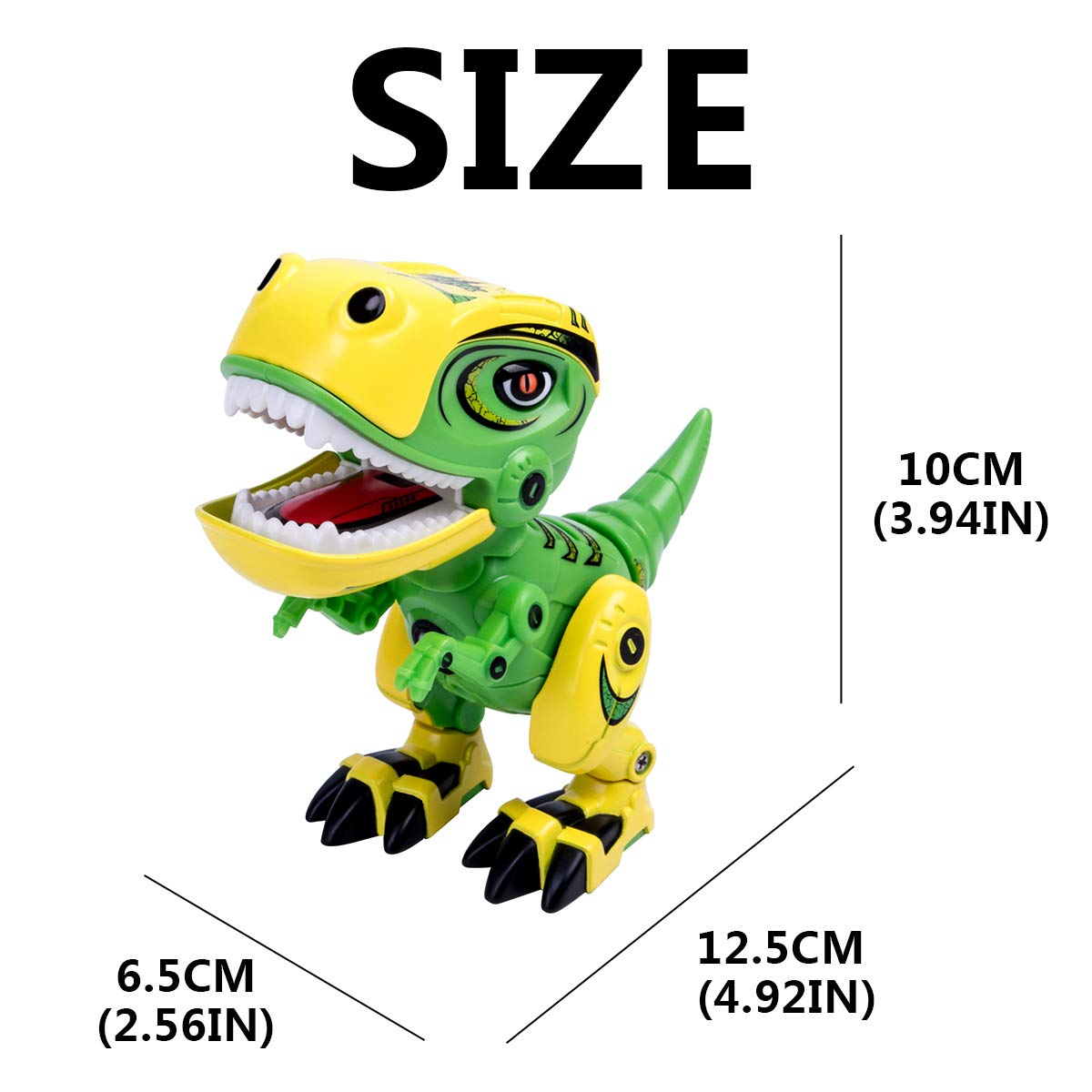 GILOBABY Dinosaur Toys for Kids, Alloy Metal Mini Tyrannosaurus Rex Dinosaur with Shine Eyes and Roaring Sound, Flexible Body, Gift for Toddlers Boys Girls (Green) by GILOBABY (Image #7)