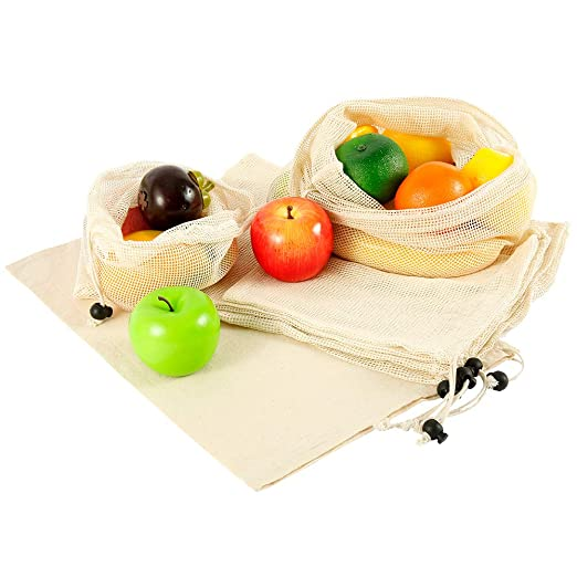 7pcs Bolsas de Vegetales Reutilizables de algodón,Bolsa de ...