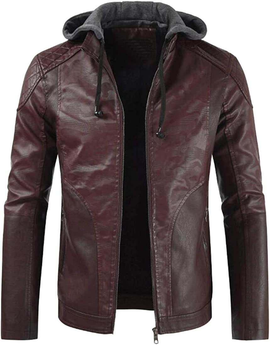 Fensajomon Men Thicken Drawstring Winter Zip Up Casual Warm Moto Biker Faux-Leather Biker Jacket