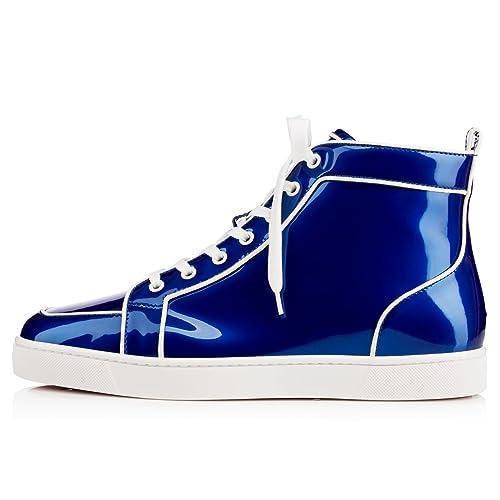 sale retailer 702e7 3f990 Christian Louboutin Rantus Orlato Flat Blue Glossy Patent ...
