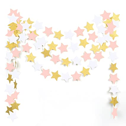 amazon com mowo paper garland twinkle star pink gold glitter and rh amazon com Red Star Clip Art Baby Girl Bottle Clip Art