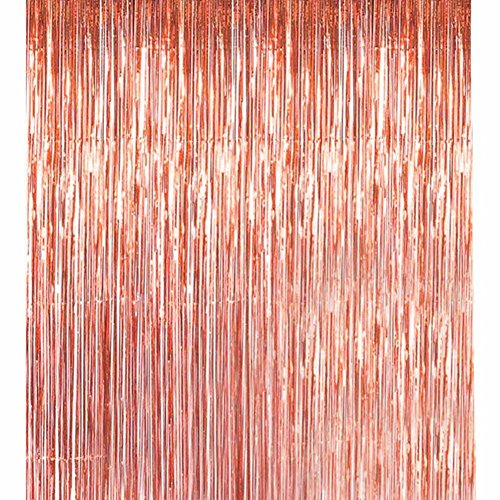 Havenport 3 Packs 3.3 ft x 6.6 ft Metallic Gold Tinsel Foil Fringe Curtains for Party Photo Backdrop Wedding Birthday Decor(5 pack Rose gold) by Havenport