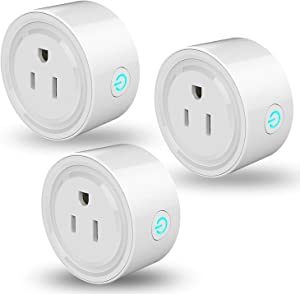 Linkstyle Smart Plug Mini WiFi Outlet Works with Alexa, Google Home & IFTTT, Remote Control Smart Socket with Timer Function, No Hub Required, ETL & FCC Certified, Only Supports 2.4GHz Network(3 Pack)