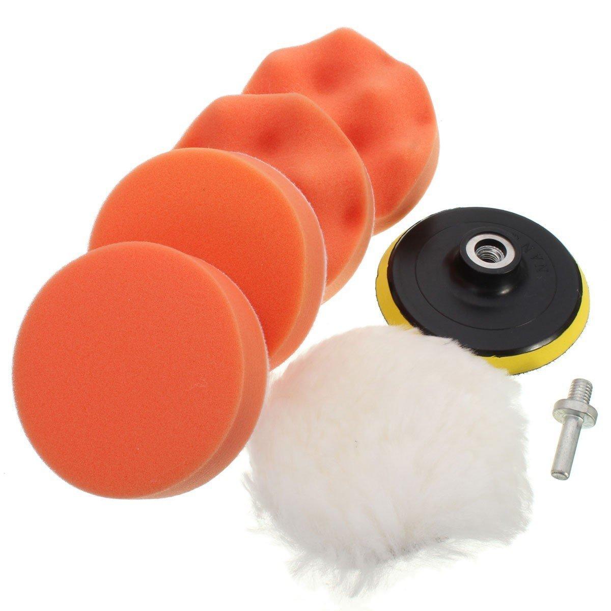 Kit Pulido de Esponja Pulidora del coche de Pintura Limpio, GZQES, Bruto Pulido Kit con Adaptador de Taladro para Coche, Accesorios para Lijado y Pulido (7 inch)