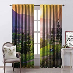 GUUVOR Nature Shading Insulated Curtain Golf Resort Park in Spring Season with Trees Sunset Hills and Valley End of The Day Soundproof Shade W72 x G84 Inch Multicolor