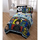 5pc Boys Star Wars Movie Patchwork Comforter Twin Set, Retro Starwars Patch Work Graphic Bedding, Color Character Luke Skywalker Han Solo Darth Vader Themed Pattern Red Blue Yellow Black