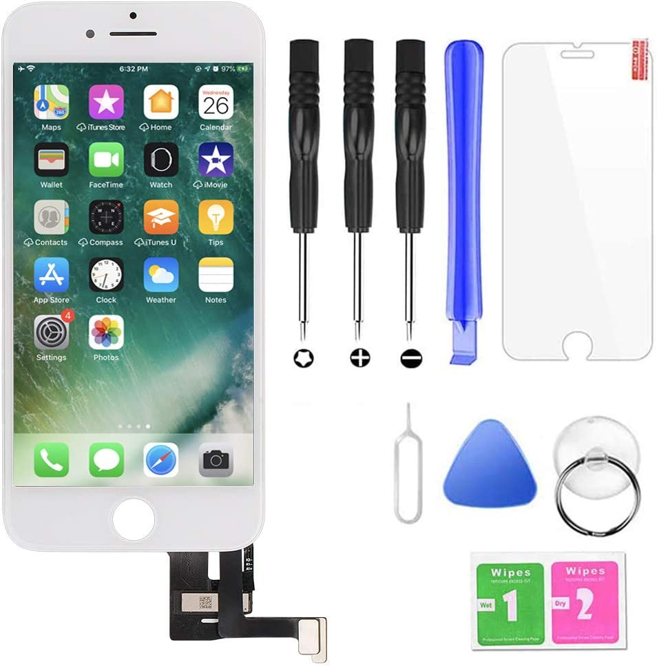 QTlier iPhone 7 Plus Screen Replacement,LCD Display and Touch Screen Digitizer Replacement Frame Assembly with Repair Tool Kit(White, 5.5Inch, for iPhone 7 Plus)