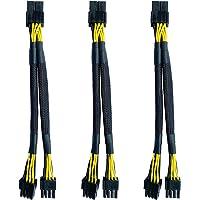 Kaxofang 3Pack GPU VGA PCI-E 8 Pin Female to Dual 8(6+2) Pin Male PCI Express Braided Sleeved Splitter Power Cable 8…