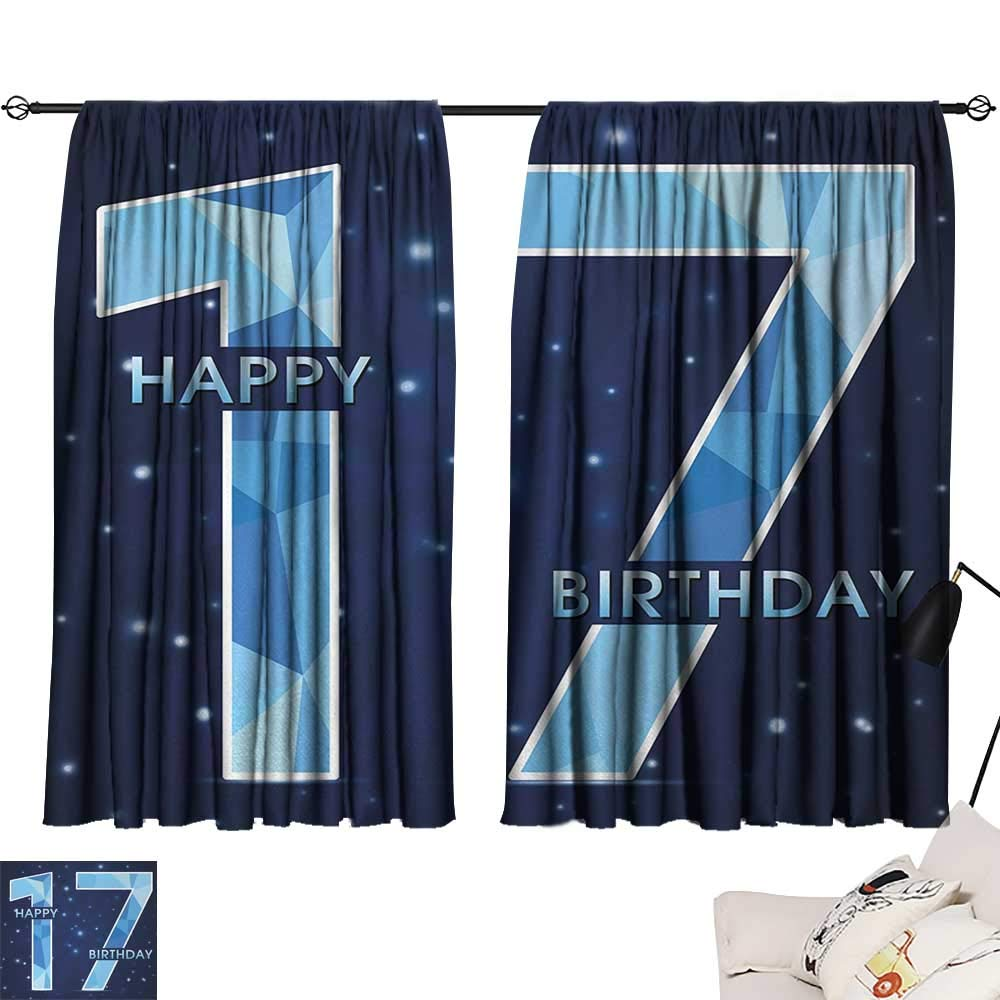 Jinguizi 17th Birthday Curtain for Bathroom Space Stage Theme Image with Star Like Dots Seventeen Youth Theme Microfiber Darkening Curtains Sky Blue and Navy Blue W55 x L39