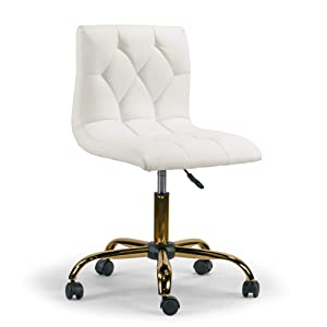 Aman Cream Adjustable Height Swivel Office Chair w/Golden Wheel Base
