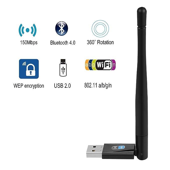 Wireless WiFi Bluetooth Adapter, iFun4U USB WiFi Network Adapter 150mbps & Bluetooth Transmitter Dongle for Desktop/Laptop/PC