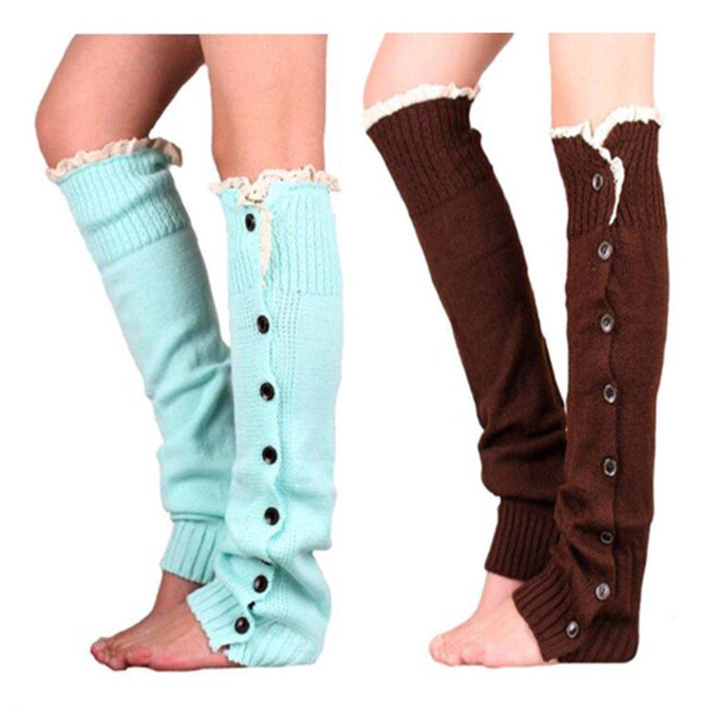Xugq66 2 Pairs Women Winter Crochet Knitted Lace Leg Warmers Socks Long Boot Cover (Coffee + Blue)