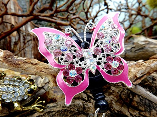 - Butterfly Retractable Rhinestone Badge Reel Crystal Nurse ID Card Holder Name Identification Tag Clip Nursing Student Pinning Graduation Gift RN Medical Bling Jewelry Nurses Week Accessory 117