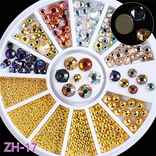 Mix Sizes 3D Nail Art Decorations Multi-Colored Flat Back Round Facets Diamond Acrylic In Wheel DIY Nails Accessories Tools ZH17 by DKjiaoso