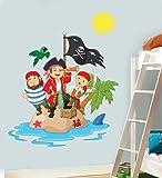 Childrens Pirate Island Wall Art Vinyl Sticker - Boys Girls Bedroom Nursery Playroom Decal Transfer - JUMBO - 110cm x 86cm - SELECT SIZE FROM MENU BELOW