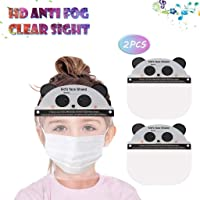 【US Stock】 Kids Anti-Fog Face Protective, Safety Full Face Clear Visor, Protect Eyes and Face, Reusable Facial Protection for Children Outdoor School Headwear with Elastic Band