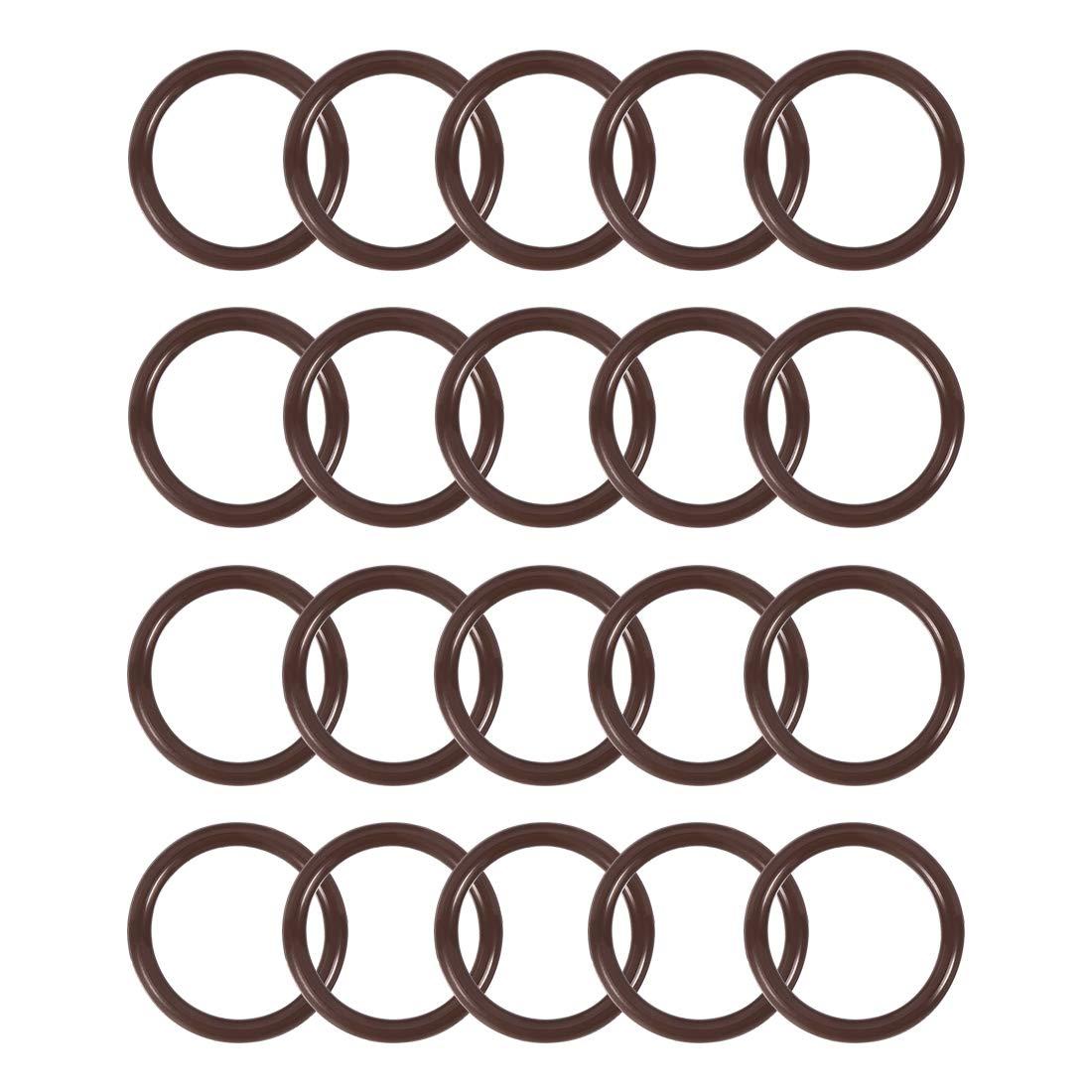 uxcell Fluorine Rubber O-Rings 13mm OD 8mm ID 2.5mm Width FKM Seal Gasket Brown 20pcs