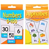 YeahiBaby 2 Sets Of Educational Flash Cards Alphabet And Number Flash Cards For Toddler Kids Children Early Learning