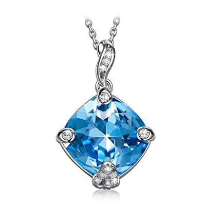 NINASUN Hooked on You 925 Sterling Silver [Bermuda Blue] Crystals from Swarovski, Women Fine Jewellery, Allergen-free
