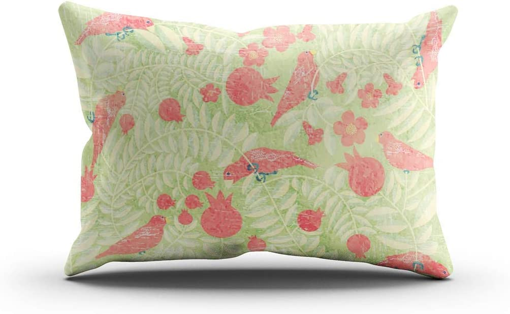 Amazon Com Dkisee Lumbar Throw Pillow Cover Birds Blooming Pomegranate Garden Middle Eastern Style Hidden Zipper Home Sofa Decorative Cushion Case Two Sides Printed Pillowcase 16x24 Inches Home Kitchen