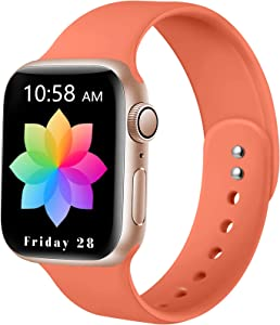 DaQin Sport Band Compatible with Apple Watch 38mm 40mm, Soft Silicone Replacement Wristbands for iWatch Series 6/SE 5 4 3 2 1 Coral