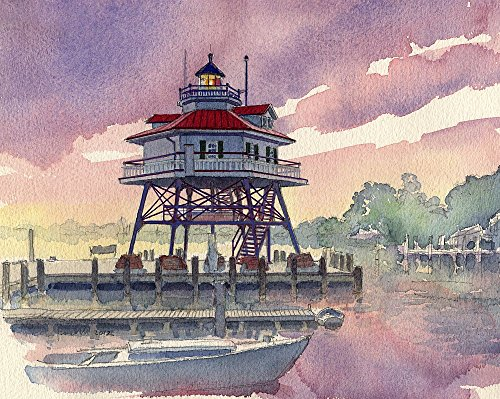Maryland Lighthouse (Drum Point Lighthouse Chesapeake Bay Screwpile Maryland Matted Art Prints)