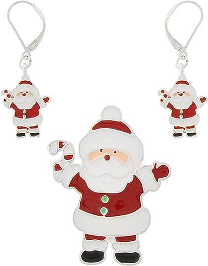 Santa Claus Pendant /& Earring Set For Women Christmas AZFJPS666-SMU