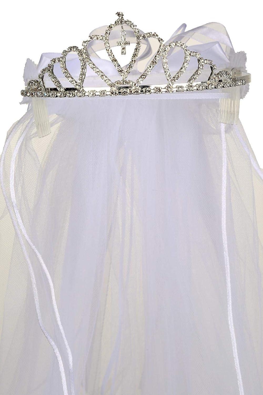 First Communion White Veil Tiara Flower Girls Princess Crown Cross