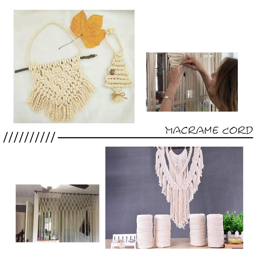Christmas Decoration Ornaments Natural Handmade Craft Rope DIY Decoration Macrame Plant Hanger Crocheting Bohemia Knitting Sttech1 Macrame Cotton Cord Rope for Wall Hanging Dream Catcher