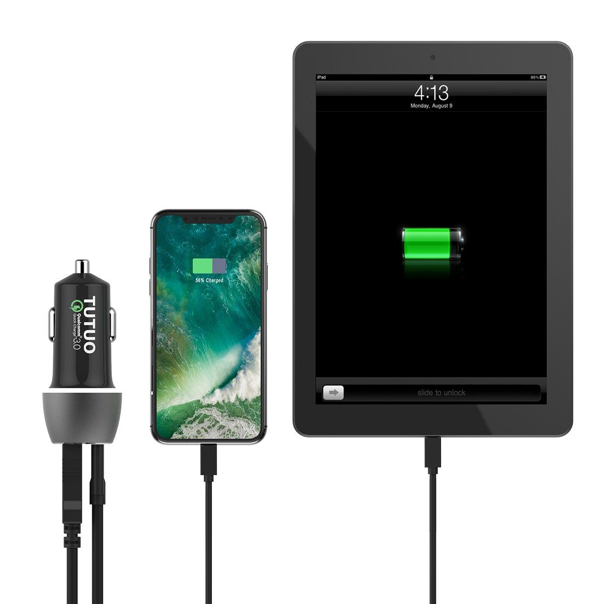 TUTUO Cargador de Coche USB Tipo C Carga Rapida Quick Charge 3.0 33W Doble Puertos Rápido Car Charger Adaptador para iPhone X 8 7 6 Plus, Samsung Note ...