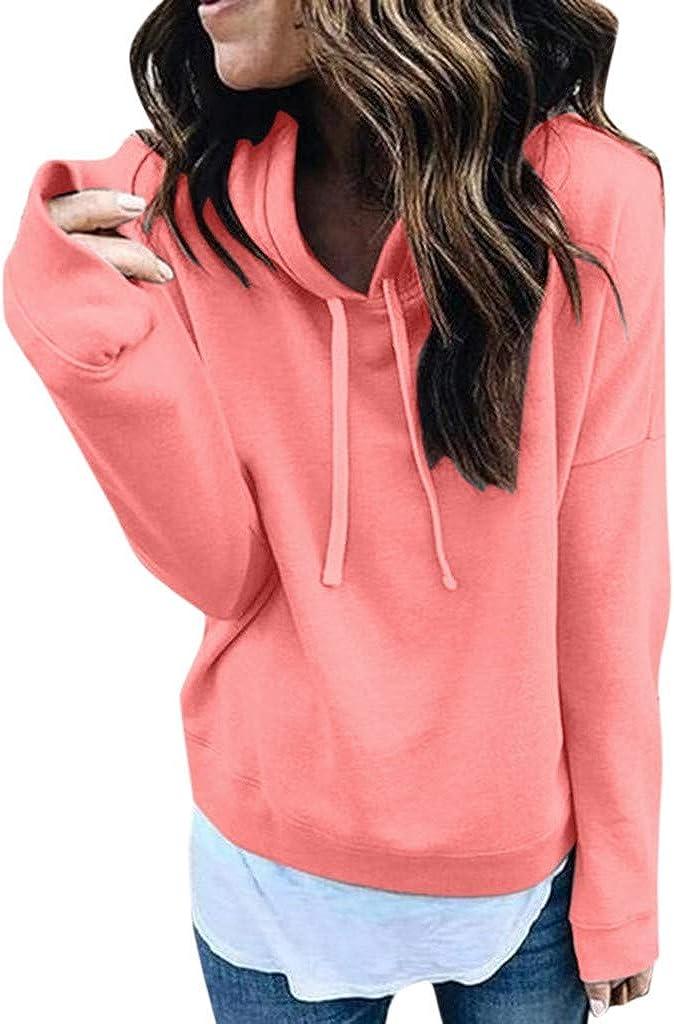 Exteren Women Long Sleeve Casual Hooded Sweatshirt Pullover Top Blouse