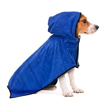 Toalla de baño tipo poncho, de secado rápido, para perros y gatos: Amazon.es: Productos para mascotas