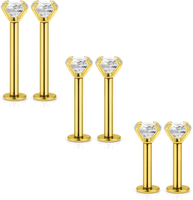 GOLD TITANIUM Clear CZ Crystal Monroe Lip Ring Stud Post Barbell 16 gauge 16g