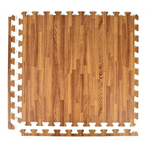 Greatmats Wood Grain and Cork Interlocking 2 ft x 2 ft Foam Floor Tiles 25 Pack Dark Wood Grain ()
