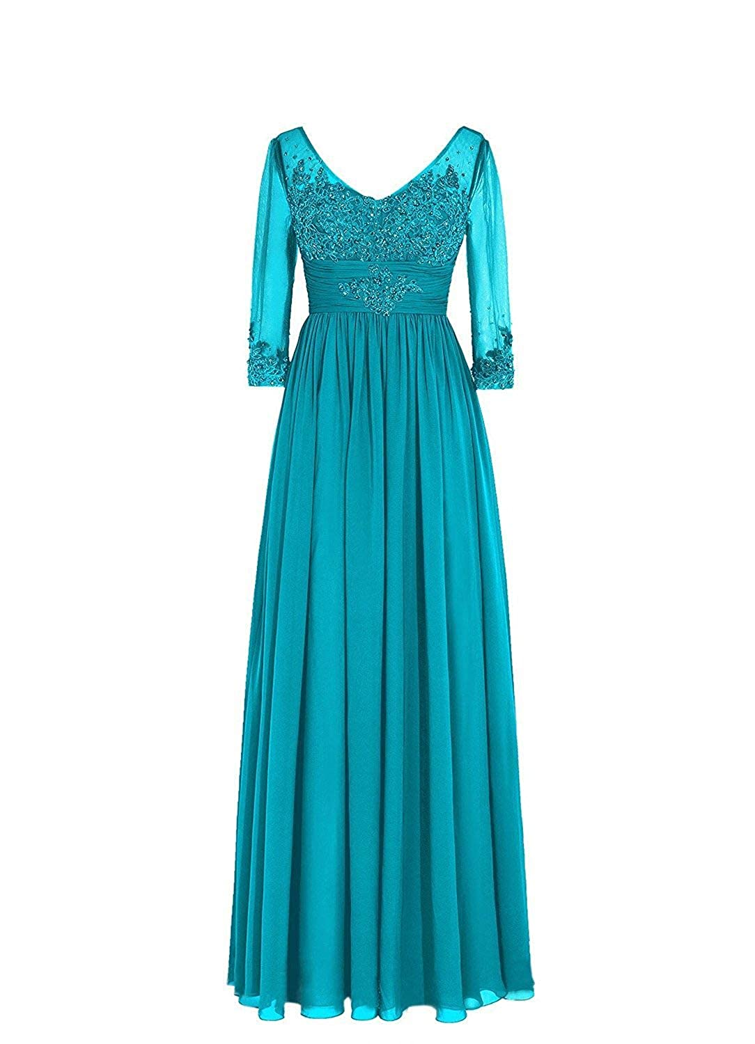 Turquoise Women's Sequins Lace Appliques Half Sleeve VNeck Mother of The Bride Dress