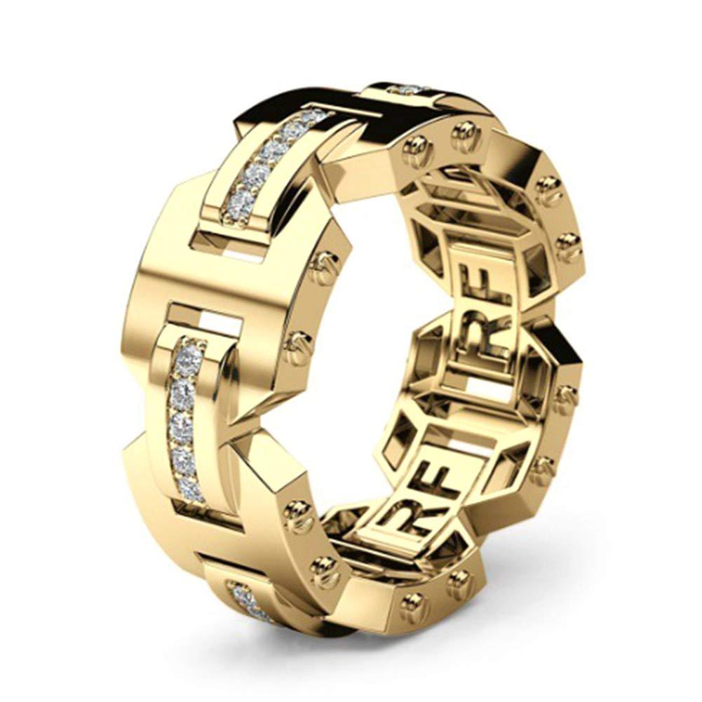 Alamana Men Women Shiny Rhinestone Inlaid Couple Finger Ring Engagement Wedding Jewelry Gift Golden US 8