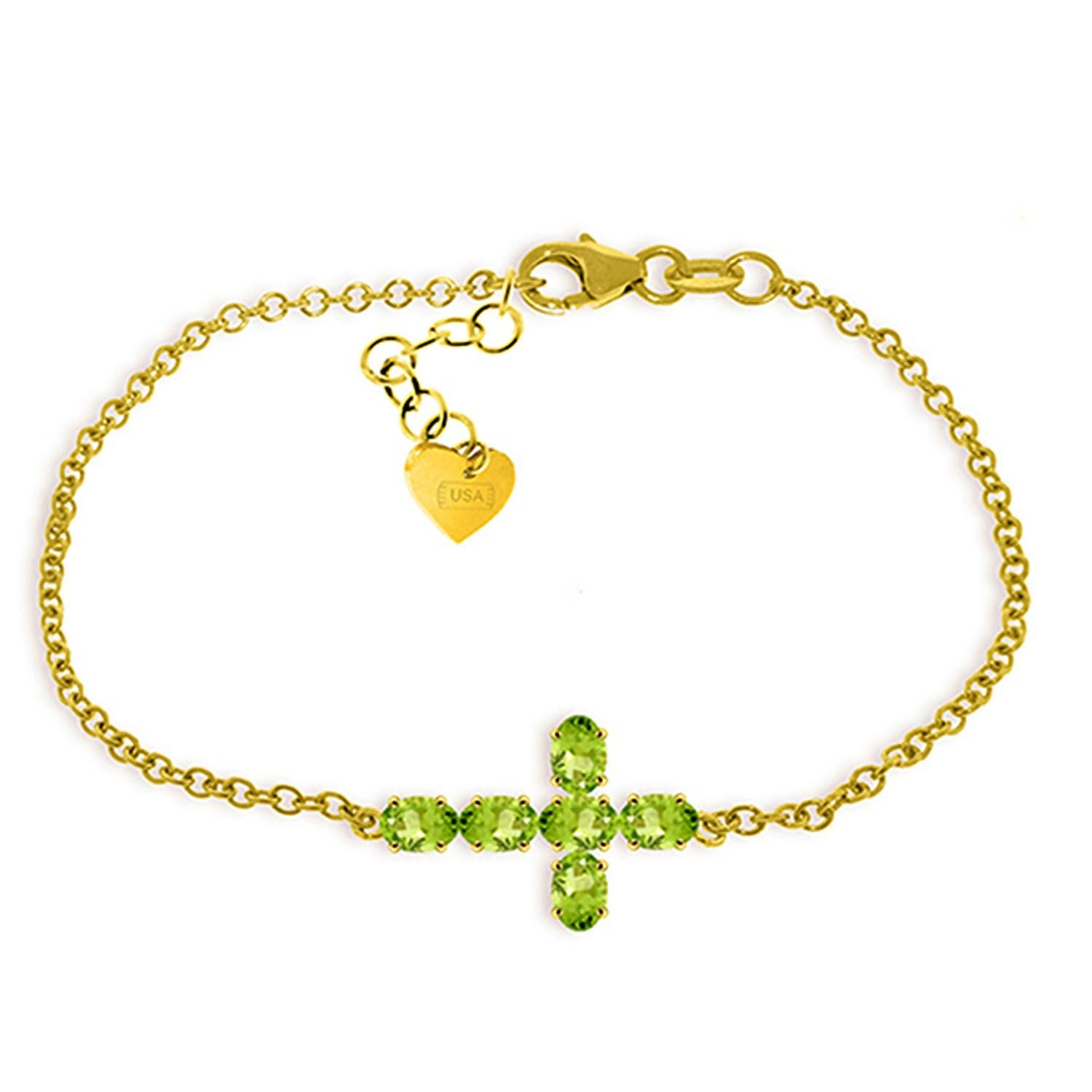 ALARRI 1.7 CTW 14K Solid Gold Cross Bracelet Natural Peridot Size 7.5 Inch Length