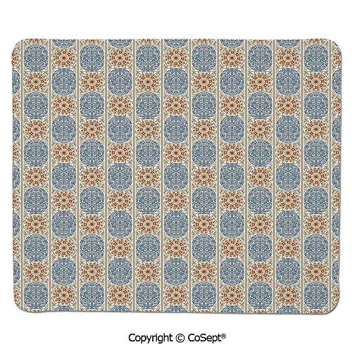 - Premium-Textured Mouse pad,Antique Arabesque Style Old Fashion Damask with Moroccan Effect Art Decorative,for Computer,Laptop,Home,Office & Travel(7.87