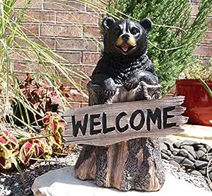 13,5cm Welcome Sign Black Bear en corteza de árbol decorativo para Estatua