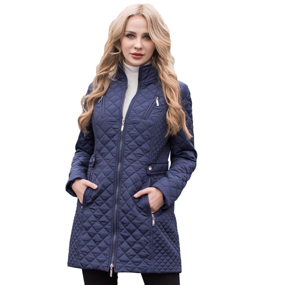 MS·VASSA Ladies Long Jacket Outerwear Winter Coat Padded Warm Zippers Pockets