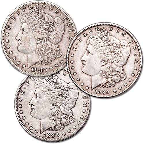 1880's Morgan Silver Dollar All Mint 3-Coin Set VF Very Fine ()