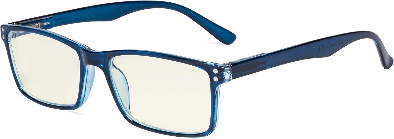 Eyekepper Gafas de ordenador - Lectores de bloqueo de luz azul - Protección UV420 Gafas de lectura elegante con bisagras de resorte de calidad - Azul +1.50