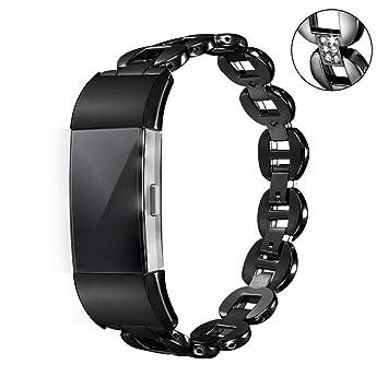 Bandmax Fitbit Charge 2 Bracelet Femme Wrist Strap en Alliage de Zinc Plaqué en Métal Noir