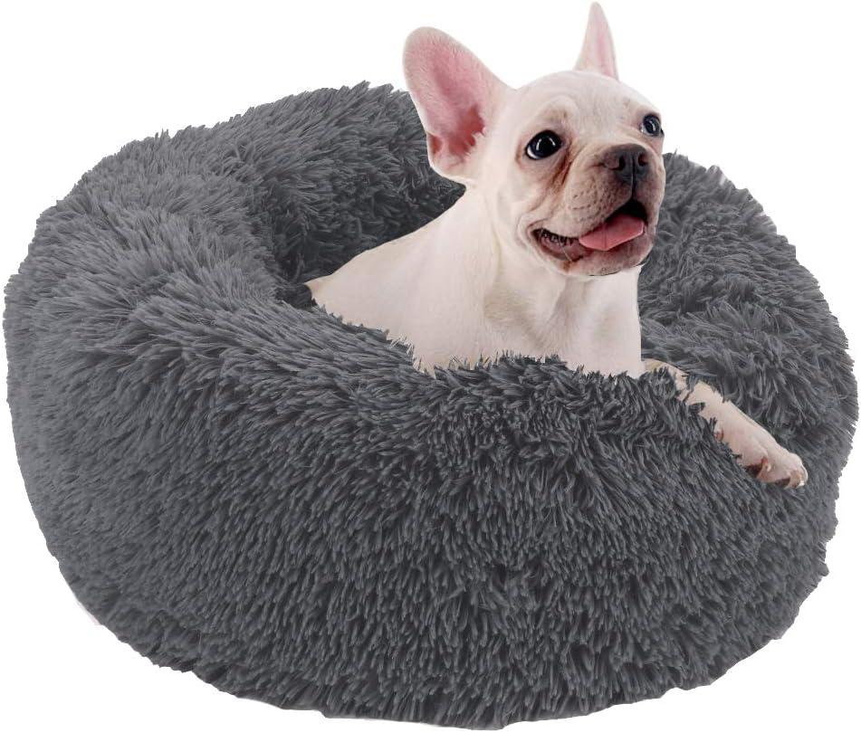 60x26cm, Gris UKMASTER Cama de Gatos de Felpa Cama Donut para Gatos Cama para Mascota Suave con Coj/ín Extra/íble Lavable y Antideslizante para Gatos y Perros